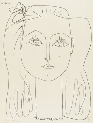 francoise with a bow in her hair, pablo picasso, 1946.