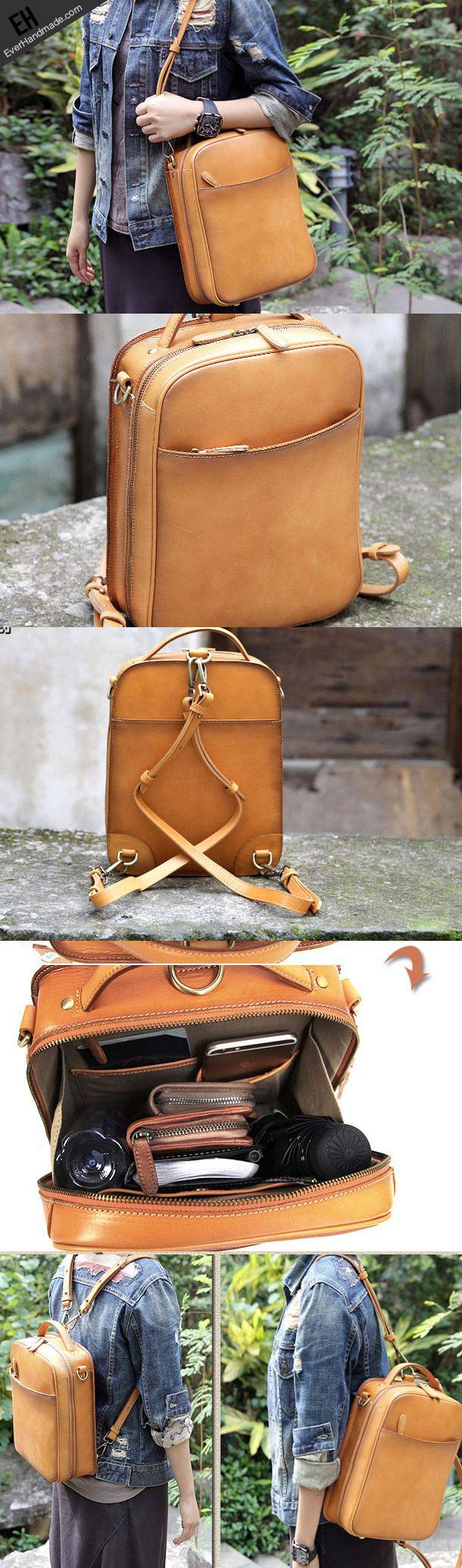 Handmade vintage satchel leather normal messenger bag beige