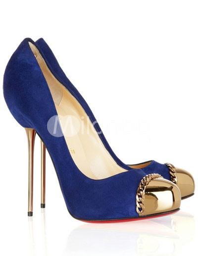 Chaussures à talons hauts en peau de mouton bleu foncé avec bout ouvert