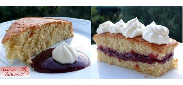 gâteau moelleux, purée de cassis, crème fouettée