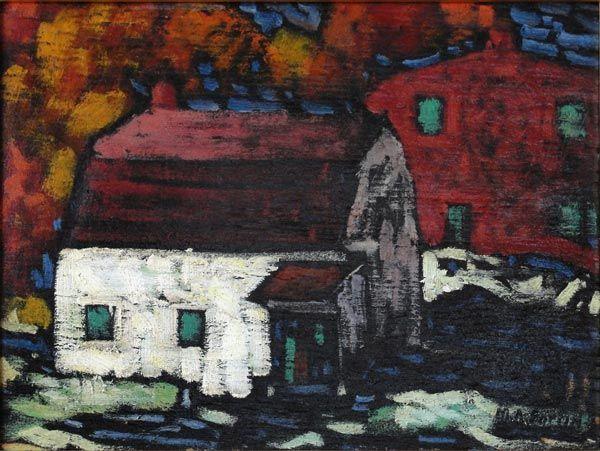"""Marc-Aurèle Fortin - Maison en automne (1938) - Huile sur panneau bois - 8.5""""x11.5"""" -"""