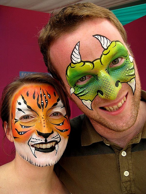monster and tiger face painting by Lucid Arts Face Painting, via Flickr
