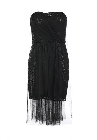 Платье BCBGMaxAzria - изысканный выбор для вечернего выхода. Модель без бретелек, приталенная. Особенности: черное платье с пайетками декорировано полупрозрачной тканью, собранной в складки, застежка-молния на спинке. Приведенные ниже измерения соответствуют размеру 02. http://j.mp/1t0l21B
