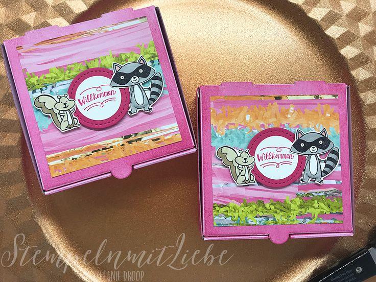Stampin Up - Verpackung - Gastgeschenk - Goodie - Mini-Pizzaschachteln - Wassermelone - Designerpapier Perfekte Party - Stempelset We must Celebrate♥ StempelnmitLiebe