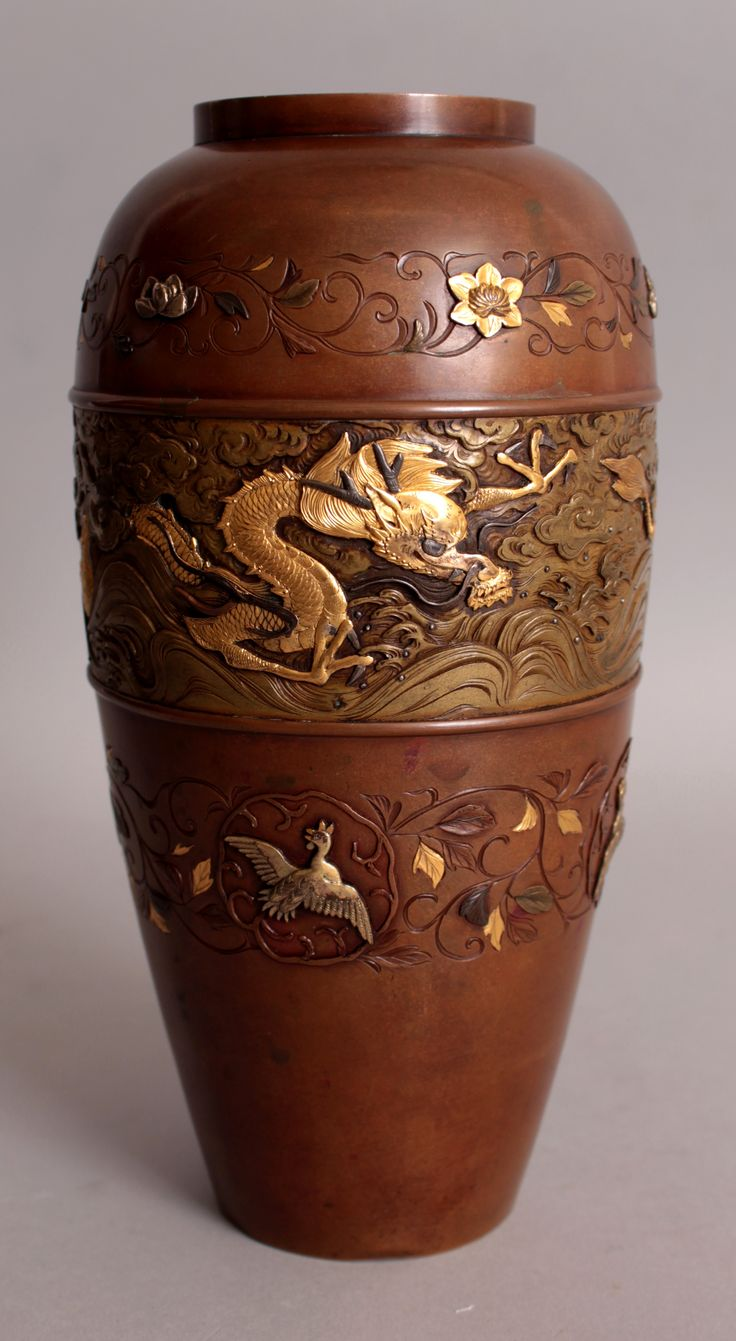 7 best oriental auction 25th jan 2017 images on pinterest a fine quality signed japanese meiji period nogawa mixed metal vase the base with a makers mark high reviewsmspy