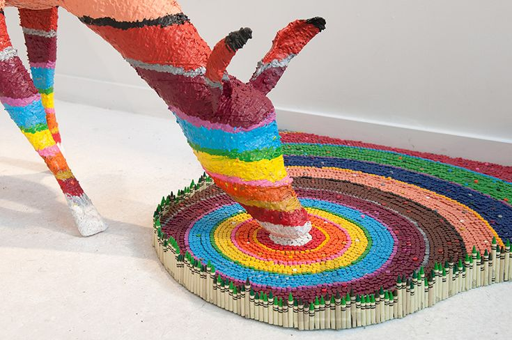 herb williams sculpts technicolor animals using thousands of crayons on exhibit for 'personal best' at OZ, nashville on march 20th, 2014