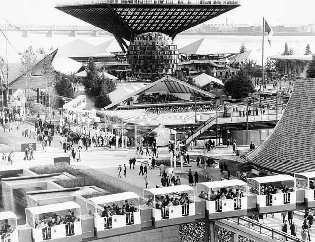 Expo '67...Montreal. so modern. Canadian pavilion in the b/g.