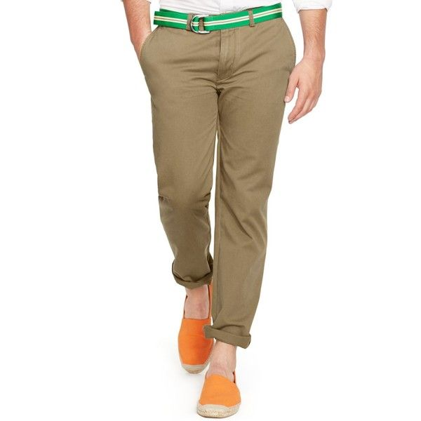 Polo Ralph Lauren Classic-Fit Flat-Front Chino Pants (£63) ❤ liked on Polyvore featuring men's fashion, men's clothing, men's pants, men's dress pants, light beige, mens flat front dress pants, mens chino pants, mens flat front pants and mens chinos pants
