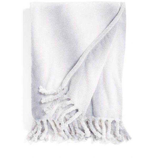 Kennebunk Home 'Bliss Zurich' Throw (56 CAD) ❤ liked on Polyvore featuring home, bed & bath, bedding, blankets, silver, polyester blanket, kennebunk home throws, polyester throw, fringe blanket and striped throw blanket