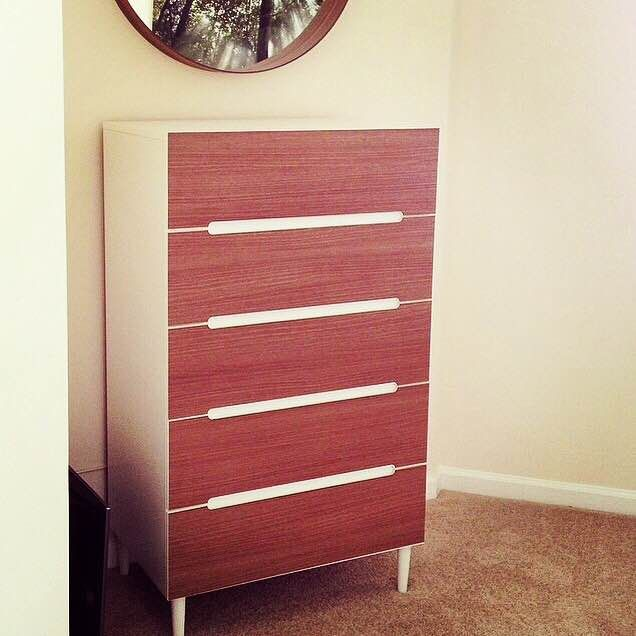 Ikea sveio 5 drawer chest with walnut panyl panyl for Malm kommode weiay