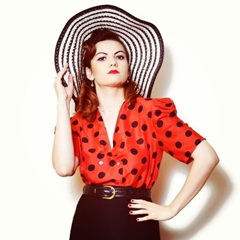 polka dots blouse outfit, black and red blouse outfit, designer clothes women, retro fashion style vintage  US$59.95