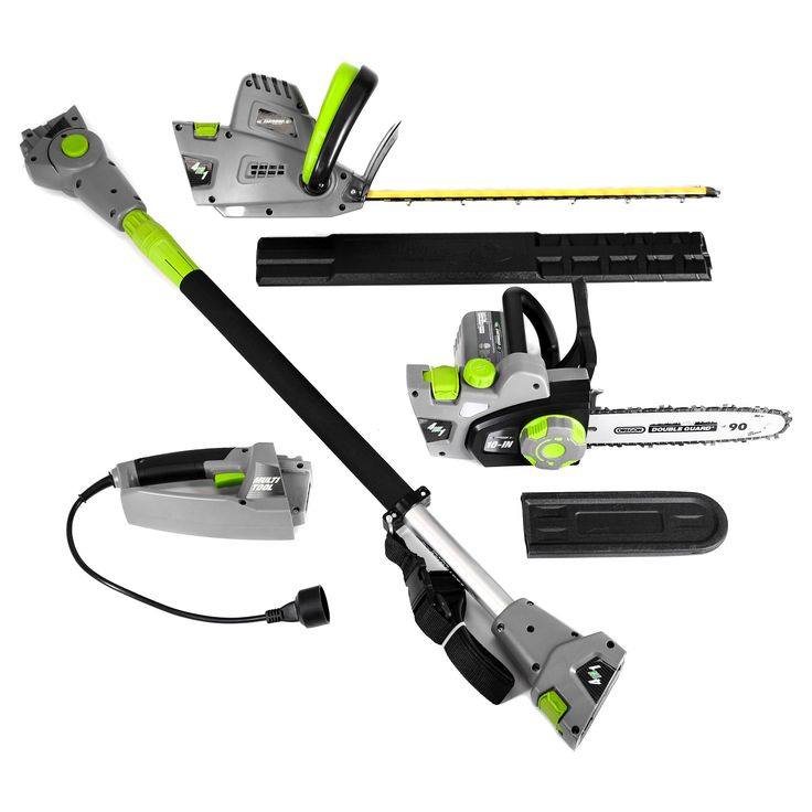 4 In 1 Multi Tool - 120 Volts And 468 Watts Chain Saw, Hedge Trimmer, Pole Saw And Pole Hedge Trimmer - Gray - Earthwise, Dark Grey
