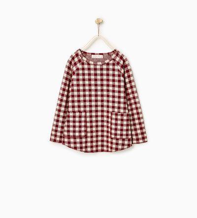 Tricou din velur cu buzunare-Vizualizare totală-TRICOURI-FATĂ | 4-14 ani-COPII | ZARA România
