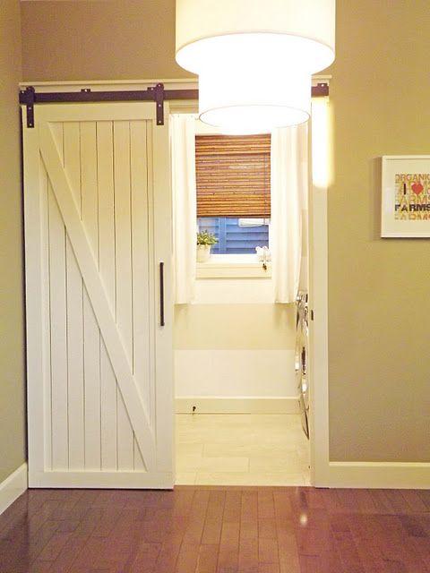 Love this door!!!!!Sliding Barns, Sliding Barn Doors, Pocket Doors, Finish Basements, Laundry Rooms, Barns Doors, Basements Bathroom, Master Bath, Sliding Doors
