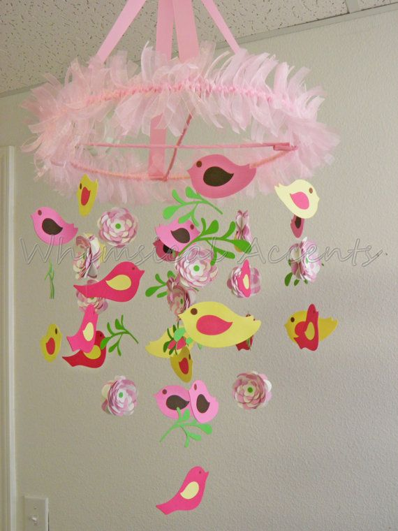 Bird and Flower Baby Paper Mobile - Inspired by the Pottery Barn Penelope Bedding. $70.00, via Etsy.