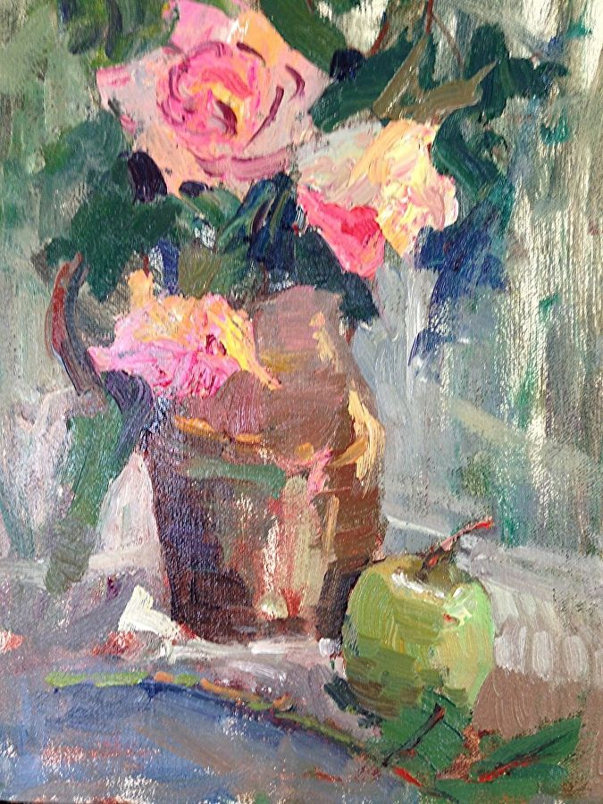 Roses with Apple in Copper Pot by Toni Danchik Oil ~ 12 x 9