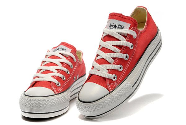 Red Platform Converse All Star Classic Low Tops Canvas Shoes For Women