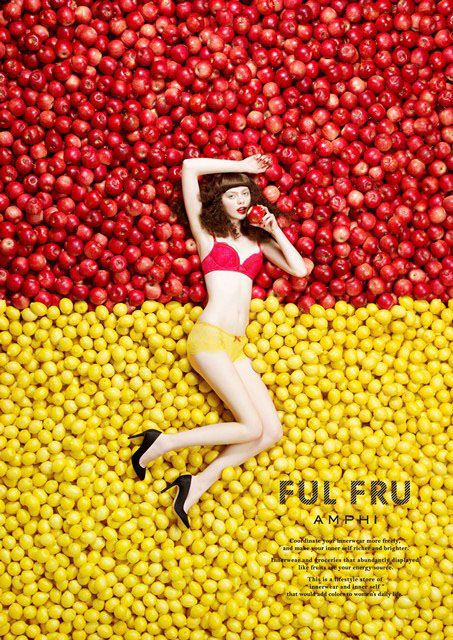 Yellow Red Apples Lemons Primary Colours Fashion Editorial