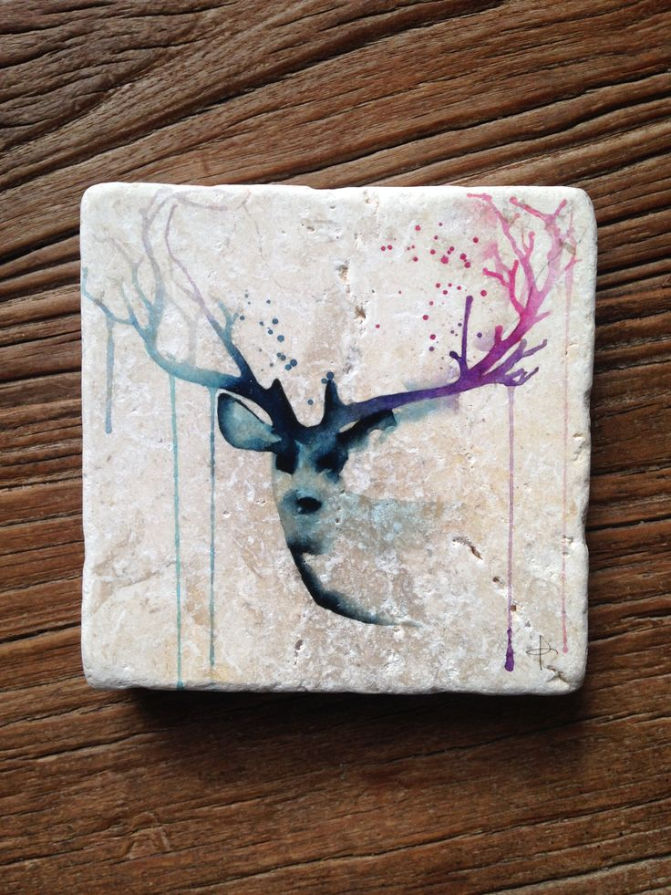 Stag head printed on our mini stone range, by artist Clementine Campardou from Blule. This little guy is available to buy. Contact us at: hello@imogenstone.com.au for details.