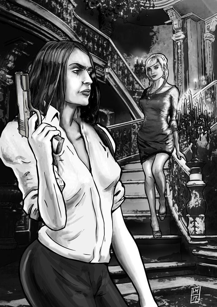 Illustration til NørdNyt. Her ses Lucana, Lejemorderen Luckners datter i endnu en penibel situation.
