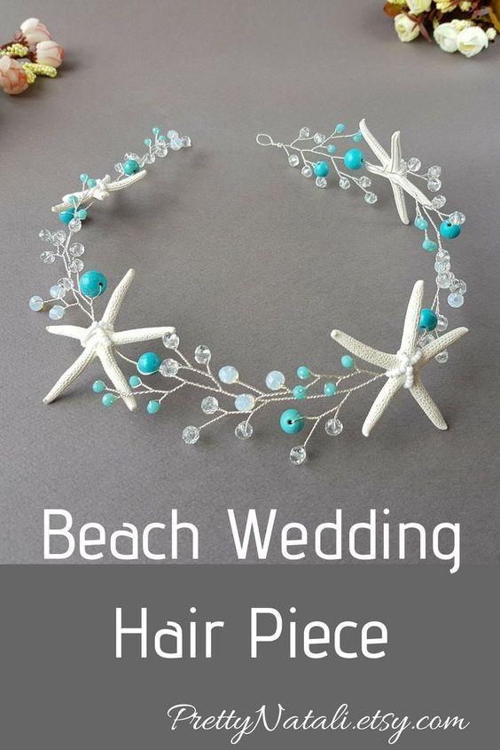 Beach Wedding Hair Piece, Starfish Hair Vine, Seashell headband, Mermaid Headpiece, Beach Bridal Tia