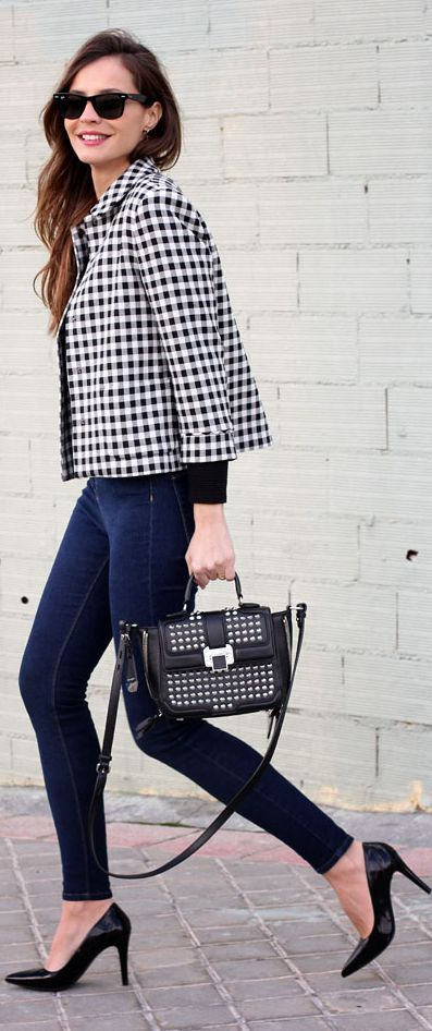 Zara Crop Black and White Gingham Jacket