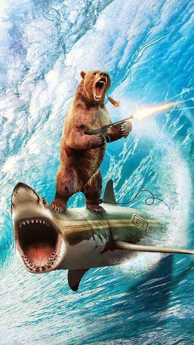 !!TAP AND GET THE FREE APP! FunArtAnimals Sea Ocean Wave Gun Bear Shark Crazy Wierd Blue HD iPhone 5 Wallpaper