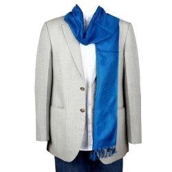 Lightweight Blue Silk Scarf for Men, Crafted by the Famous Weavers of Benaras