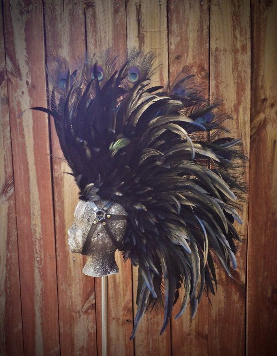 Black Warrior Feather Mohawk- Headdress, Mad Max, Burning Man, Mad Max, Cosplay, Costume