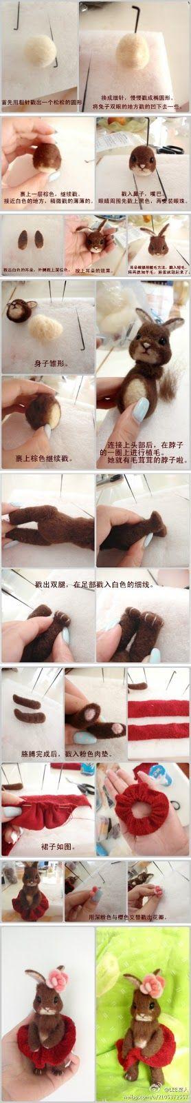 Giocabosco: creare con Gnomi e Fate: Tutorial coniglietto in lana cardata