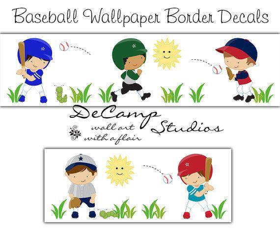 Baseball Wallpaper Wall Border Decals for children's sports room decor #decampstudios