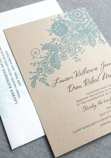 Gorgeous motif on this wedding invitation! And such a beautiful dusty blue color!