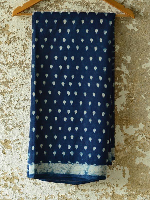Indigo dabu printed ~ Cotton Saree