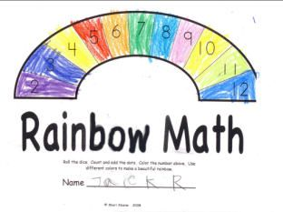 Rainbow Math - This game is very simple. The kids roll 2 die and color in the sum on the rainbow. The game is over when the rainbow is colored in.
