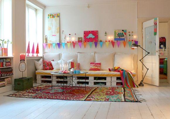 Idea decoración: reciclar palets para sofás