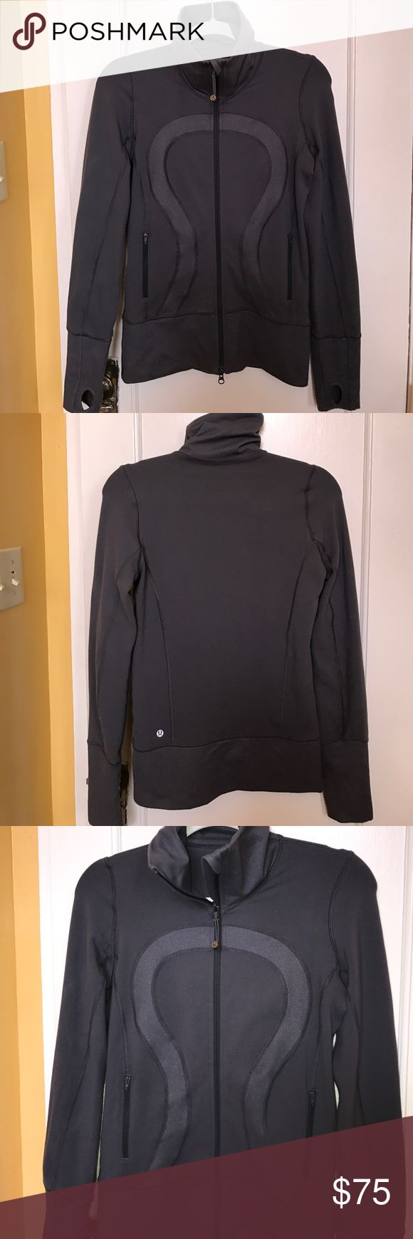 "LULULEMON Athletic Define Full Zip Gray Jacket Sz4 LULULEMON in good preowned condition. Looks very tailored and structured. 87% nylon, 13% Lycra spandex. 18"" armpit to armpit, 25"" length, 38"" sleeves lululemon athletica Jackets & Coats"
