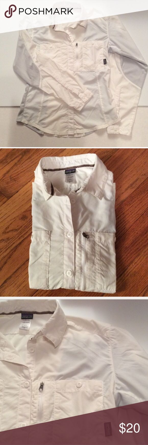 Patagonia shirt long sleeved Off white women's Patagonia top. Good condition. Size 8. Nice for summer. Button down. Patagonia Tops Button Down Shirts