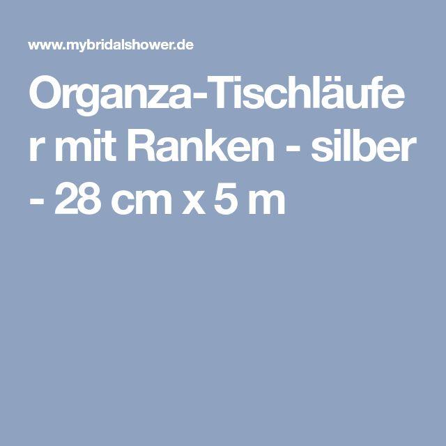 Organza-Tischläufer mit Ranken - silber - 28 cm x 5 m