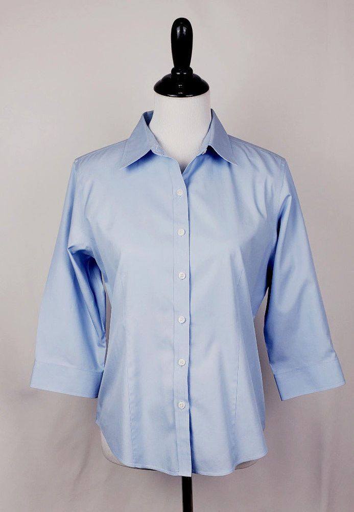 Details About Ll Bean Women S Petite S Blue 3 4 Sleeve Wrinkle
