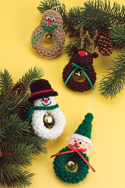 Free Crochet Christmas Character Patterns...I think I can convert to loom knit by doing an i-cord for the circle.