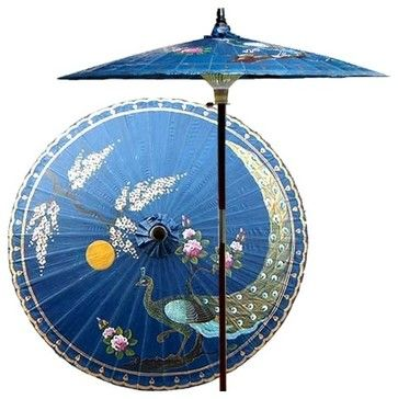7 ft. Tall Victory of the Peacock Patio Umbre - asian - Outdoor Umbrellas - ivgStores