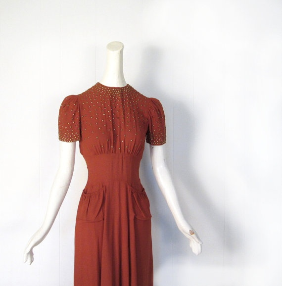 1930s studded pumpkin crepe dress, Fashion Originators Guild of America (F.O.G.A. label) // sold