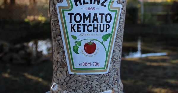 ketchup bottle feeder - for our last bottle of heinz given the Leamington plant closure! | bird feeders | Pinterest | Ketchup Bottles, Ketchup and Bird Feeders