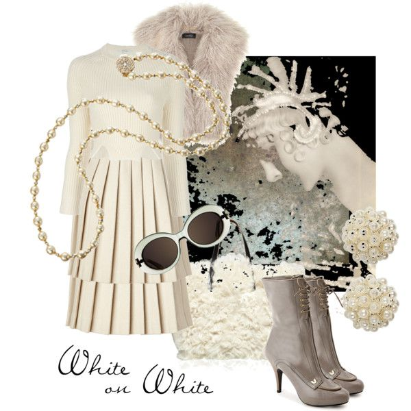 """White on White"" by moodycat on Polyvore"