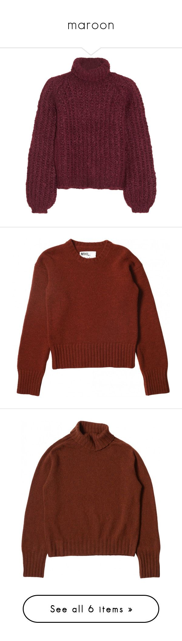 """""""maroon"""" by nicofrg on Polyvore featuring tops, sweaters, shirts, jumpers, purple silk shirt, turtleneck sweater, purple turtleneck, turtleneck shirt, wool blend sweater y long sleeve tops"""