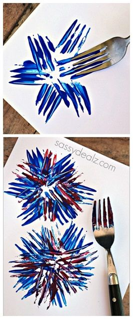 Fireworks Craft using a fork! Great for a kids 4th of July craft or memorial day…