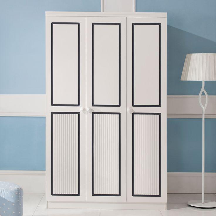 Детский трехдверный белый шкаф с черными прямоугольниками на дверях купить в интернет-магазине https://lafred.ru/catalog/catalog/detail/26293424618/