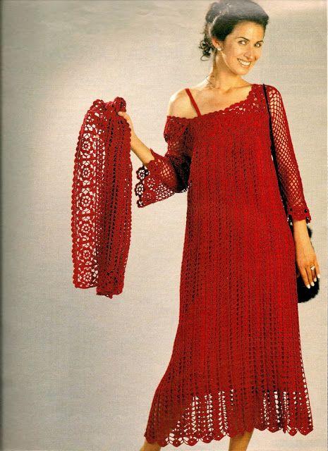 Mussambe: Vestido Vermelho em Crochê com gráficos!!!