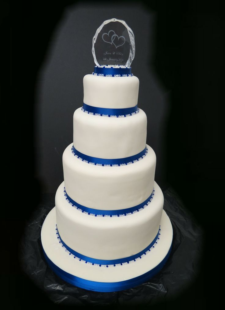 4 Tier Wedding Cake with beads and enraved glass top ornament
