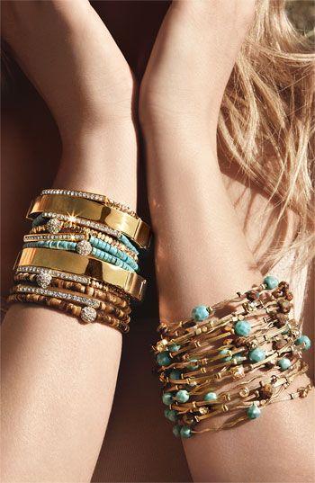 Turquoise-gold bracelets.